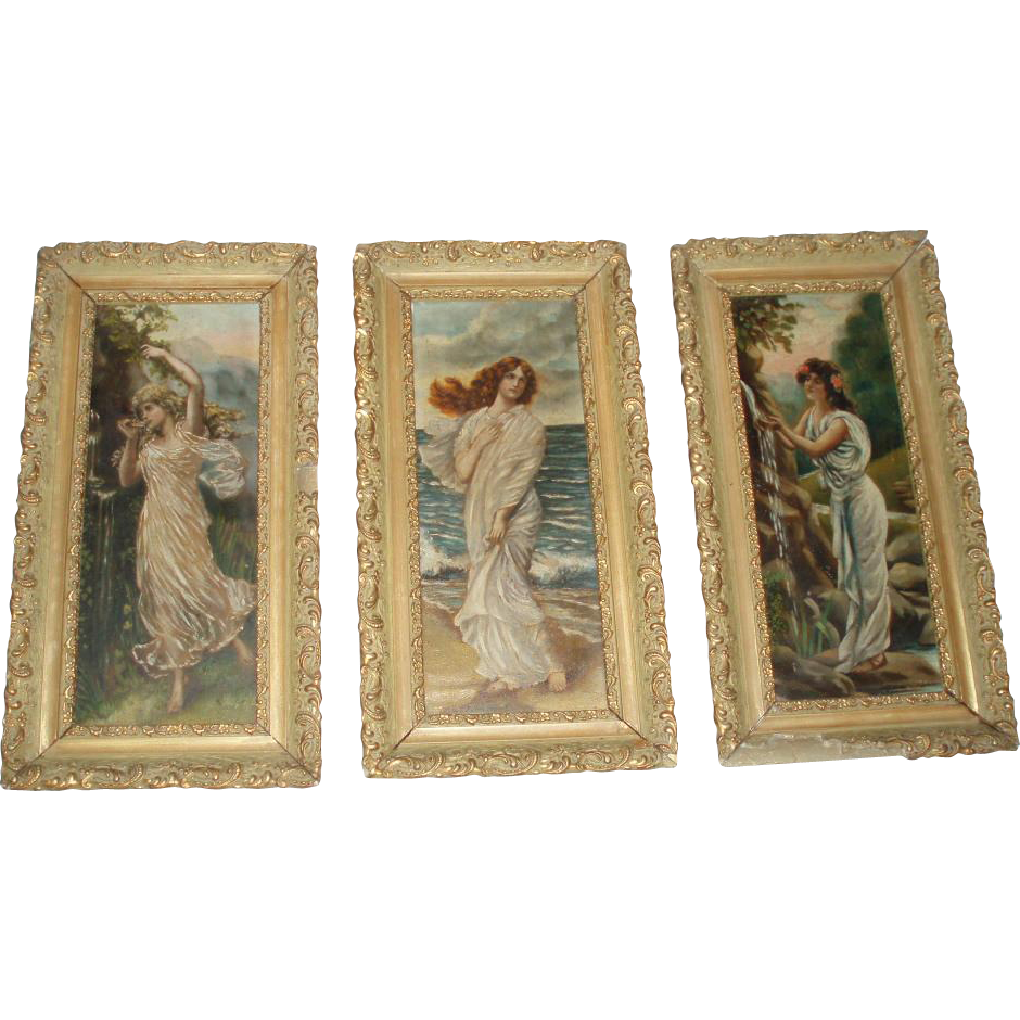 Magnificent Antique Trio of Victorian Oil Paintings of Beautiful Women - Beyond Fabulous