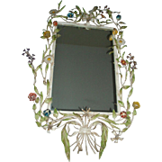 Stunning Vintage Tole Metal Flower Wall Mirror
