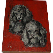 Vintage Poodle Dogs Oil Painting on Wood