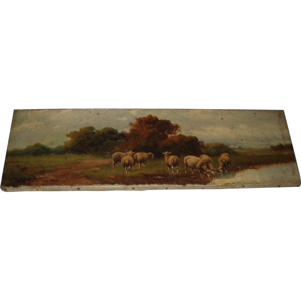 19th Century Antique Sheep Oil Painting on Canvas, Signed Vitollo