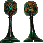 Antique Pair of Green Bohemian Glass Goblets With Gold Irises