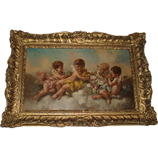 Breathtaking Antique Cherubs Oil Painting With Rose Garlands, Signed