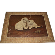 Antique Cats Oil Painting, Signed