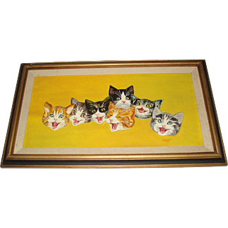 Vintage Happy Cats Oil Painting, Signed London
