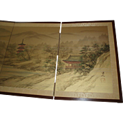 Vintage Japanese 4-Panel Painted Folding Floor/Wall Screen Byobu Signed