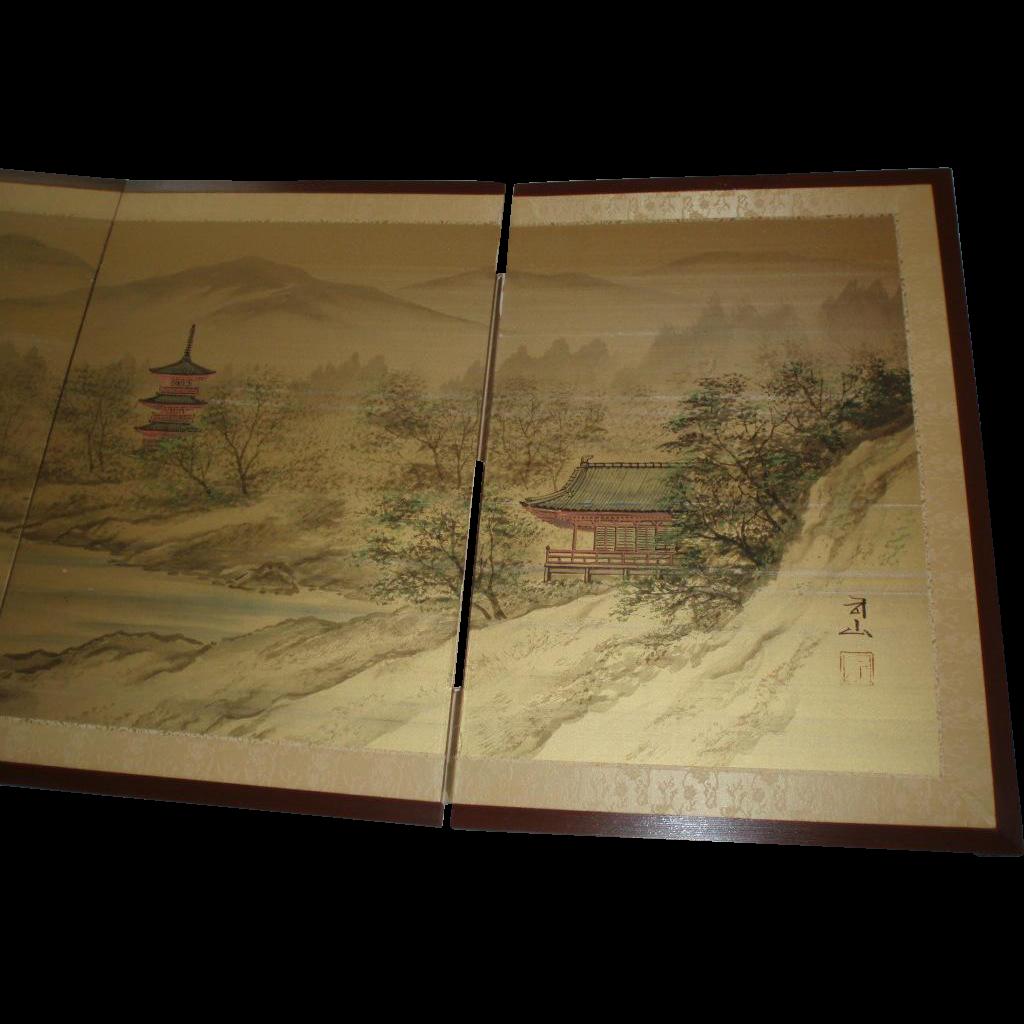 Vintage Japanese 4-Panel Painted Folding Floor/Wall Screen Byobu Signed