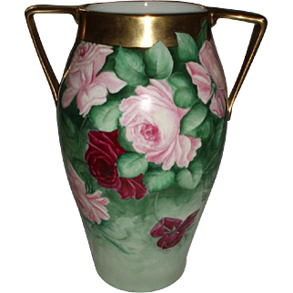Massive Antique French Limoges Roses Vase With Handles, Encrusted With Gold
