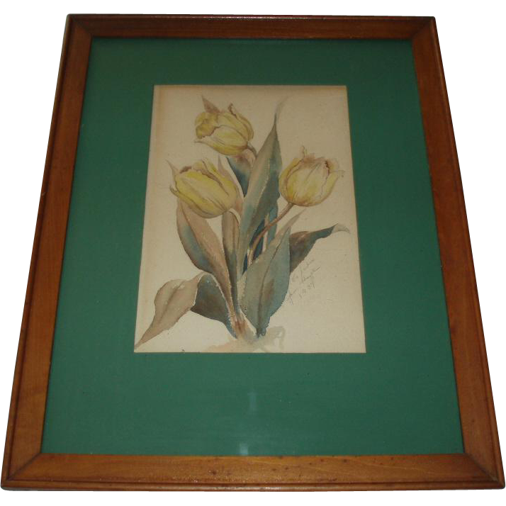 Lovely Botanical Tulips Watercolor 1937