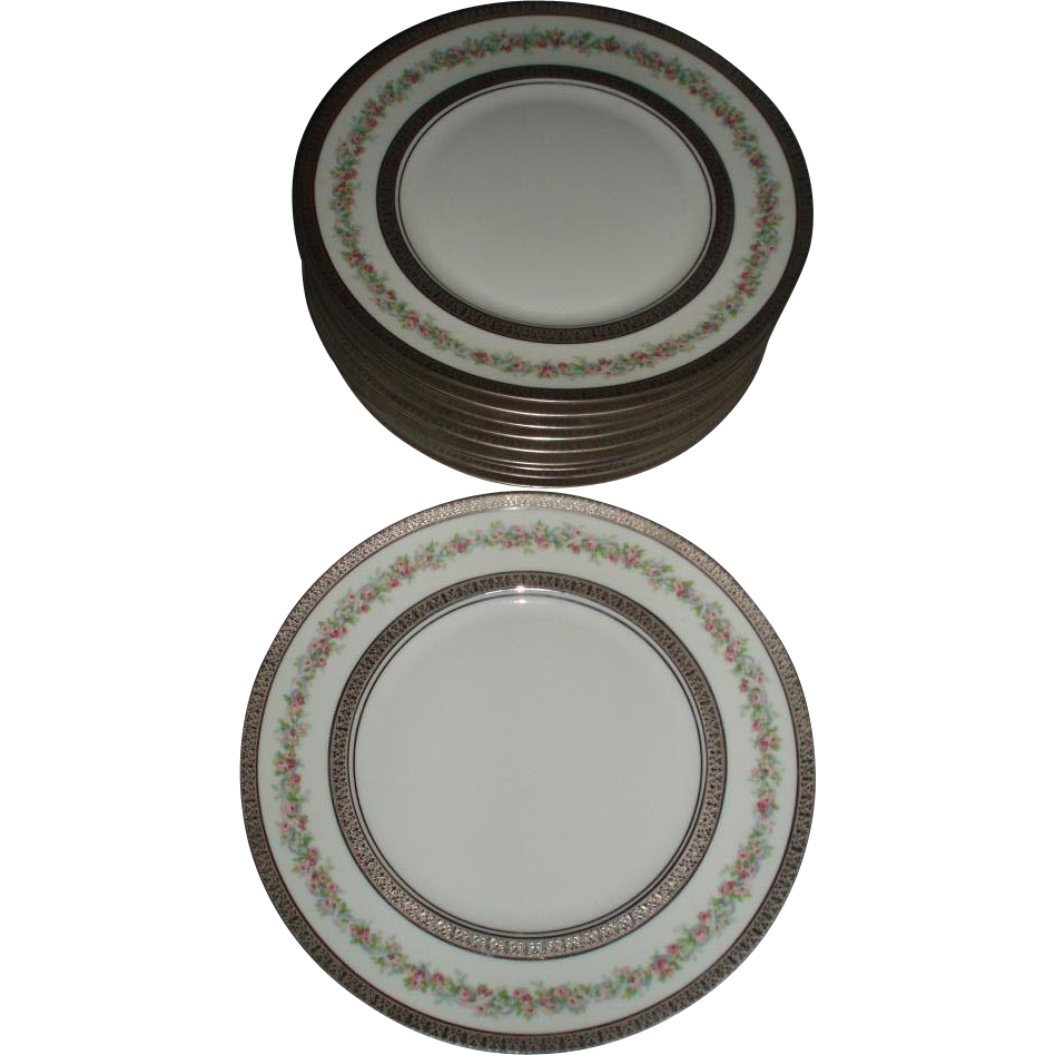 Gorgeous Antique French Limoges Set of 10 Dinner Plates With Roses and Silver Gilding