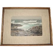 Vintage Mid-Century Back Shore Oil Painting Seascape Signed