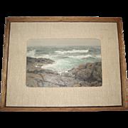 Vintage Mid-Century Back Shore Oil Painting Seascape Signed