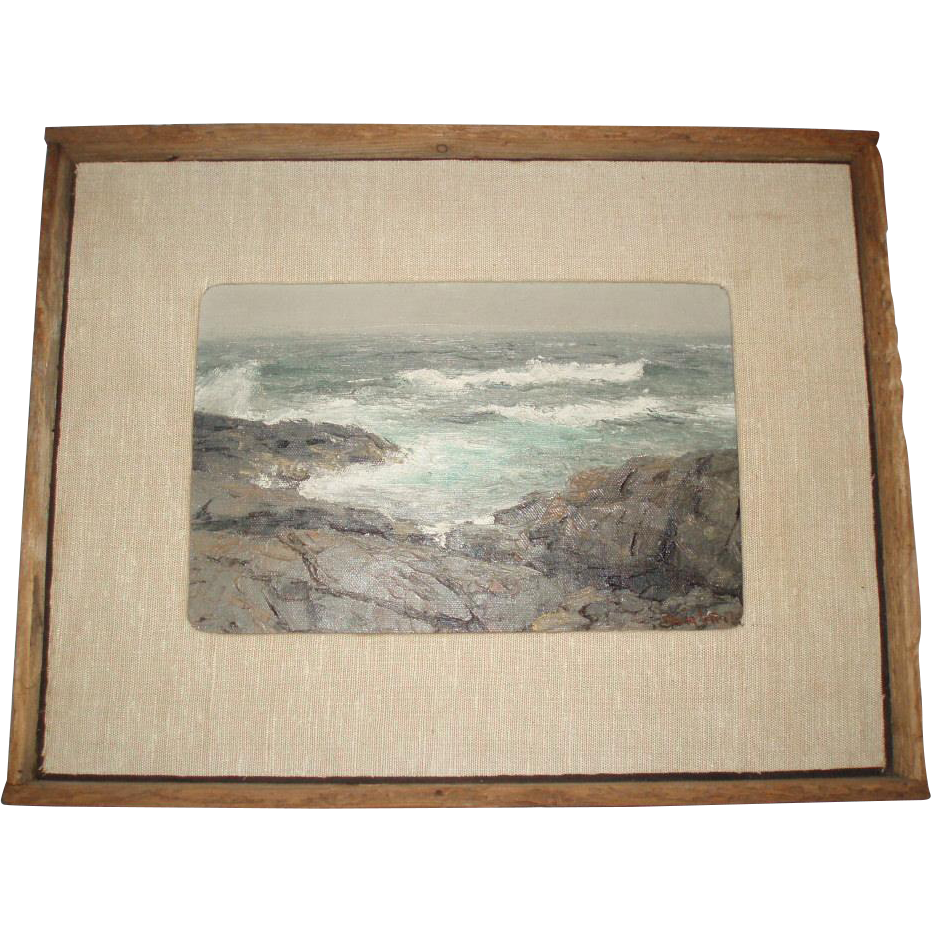 SALE PENDING - Vintage Mid-Century Back Shore Oil Painting Seascape Signed