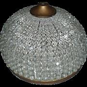 Stunning Huge Antique Czech Glass Beaded Dome Lamp Shade Mint