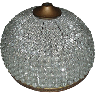 Stunning Huge Antique Czech Glass Beaded Dome Lamp Shade Mint