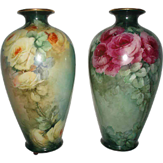Gorgeous Antique Pair of Tall Belleek Roses Vases For Limoges Lovers