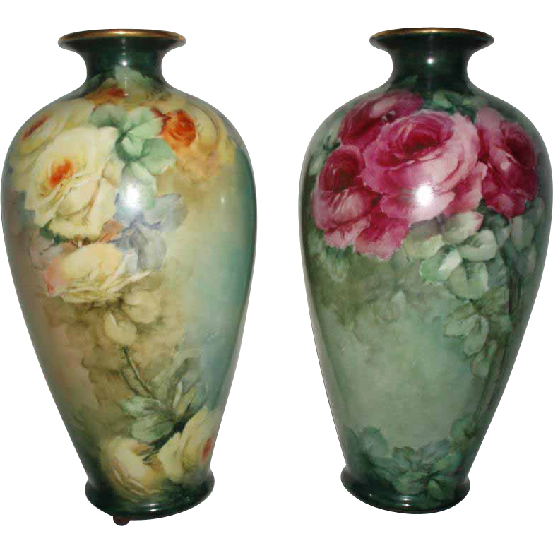 SALE PENDING - Gorgeous Antique Pair of Tall Belleek Roses Vases For Limoges Lovers