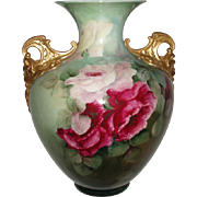 "Beautiful 12"" Antique Belleek Roses Vase With Gold Cherub Handles For Limoges Lovers 1907"
