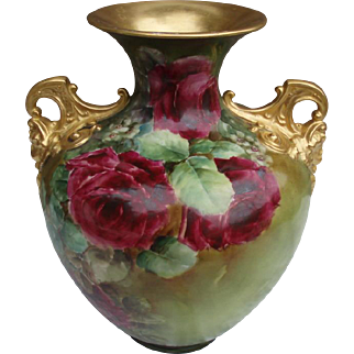 "Gorgeous 12"" Antique Belleek Roses Vase With Gold Cherub Handles For Limoges Lovers"