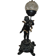 Amazing Antique Metal Cherub Statue Lamp With Czech Beaded Glass Dome Shade