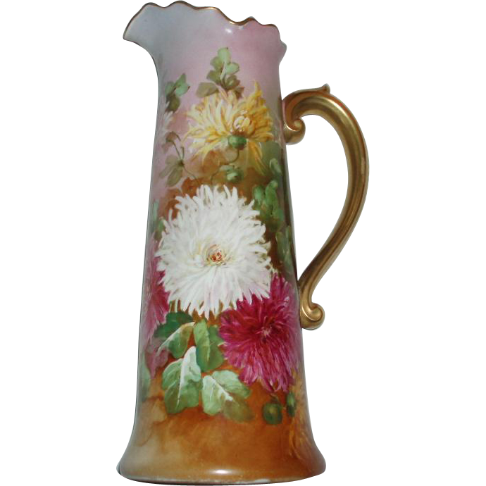SALE PENDING - Gorgeous Large Antique French Limoges Floral Tankard Pitcher Signed De St Just