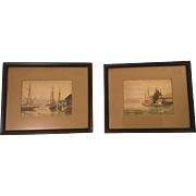 Caroline M. Bell Pair Nautical Watercolor Paintings Signed