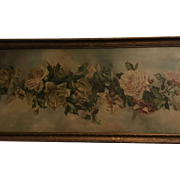 "sale pending....Spectacular Massive 53"" Antique Roses Oil Painting on Canvas Signed Schofield"