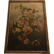 Antique Roses Oil Painting With Honeysuckle Shabby Chic