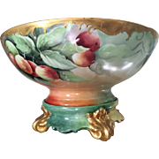 Magnificent Antique French Limoges Porcelain Punch Bowl on Stand With Hand Painted Apples