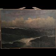 Amazing Seascape Oceanscape Oil Painting of Waves Espana 1926