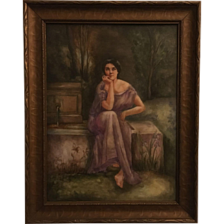 Antique Large French Limoges Porcelain Plaque of Woman in Garden