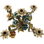 Sale Pending - Exceptional Large Vintage 5-Light Tole Metal Centerpiece With Pansies, Italy
