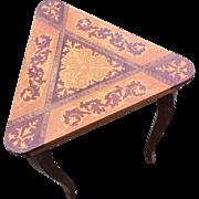 Ornate Vintage Inlaid Wood Italian Decorative Triangular Table With Hinged Top