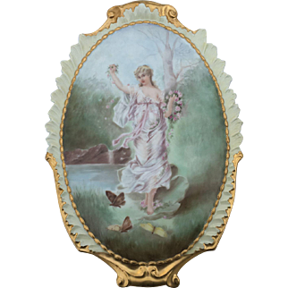 Beautiful Antique French Limoges Porcelain Plaque of Woman, Roses, and Butterflies, Signed