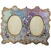 Magnificent Ornate Antique French Limoges Porcelain Double Picture Frame, Purple Orchids, Exquisite
