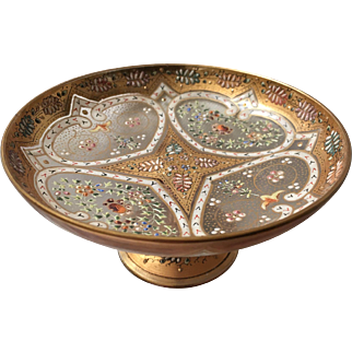 Ornate Enameled Moser Bohemian Footed Bowl