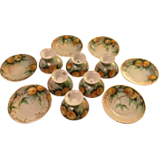 Antique Set of 6 French Limoges Fruit Cups With Under Plates Oranges With Blossoms