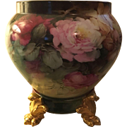 Beautiful Large Antique French Limoges Porcelain Roses Jardiniere With Plinth