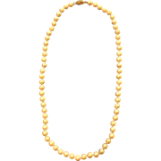 Beautiful Vintage White Cultured Pearl Necklace With 14K Gold Clasp Excellent