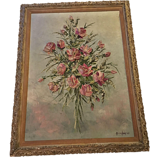 Large Vintage Pink Roses Impasto Painting, Signed