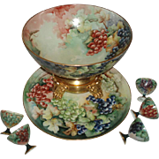 Stunning Large Antique French Limoges Porcelain Punch Bowl Set With Hand Painted Grapes, 8 Pieces