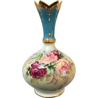 Rare Antique French Limoges Porcelain Vase With Roses and Enameling, Fancy Pointed Top