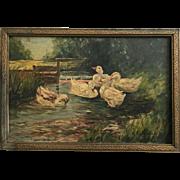 Precious Antique Ducks Oil Painting Signed