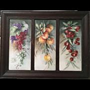 Magnificent Antique French Limoges Triple Plaque in Original Oak Frame Huge