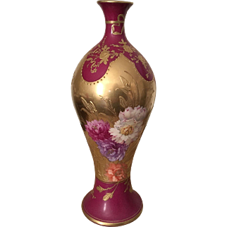 Gorgeous Antique Royal Bonn Germany Floral Vase Encrusted With Gold