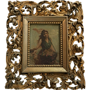 Beautiful European Antique Oil Painting of a Woman and Cherub, Basket With Roses, in Ornate Gesso Frame