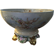 Wonderful Antique French Limoges Cherubs and Roses Punch Bowl With Plinth