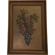 19TH Century Antique Still Life Grapes Oil Painting Signed