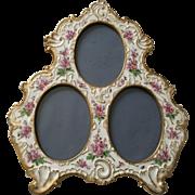 Rare Antique French Limoges Porcelain Triple Picture Frame