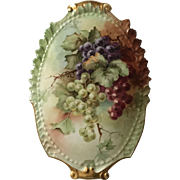 Beautiful Antique French Limoges Porcelain Plaque With Hand Painted Grapes