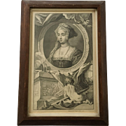 Old Etching of Jane Seymour, J&P Knapton Londini 1746, Paul de Rapin Folio